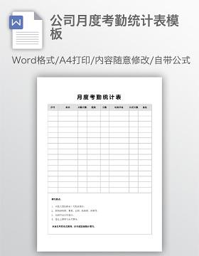 公司月度考勤统计表模板