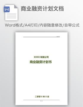 商业融资计划文档