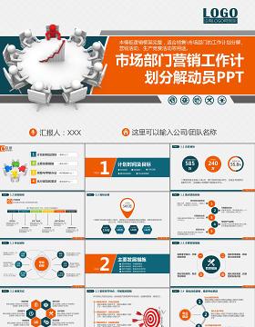 市场部门营销工作计划分解动员PPT模板