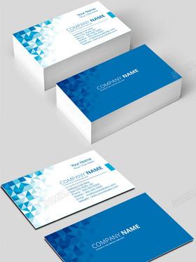 藍色創意方格大氣簡約企業名片