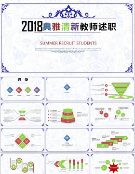 2018清新古韵教师述职报告ppt模板