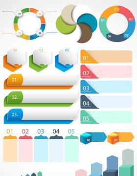 彩色信息圖表PPT素材矢量圖形-含多個ppt元素