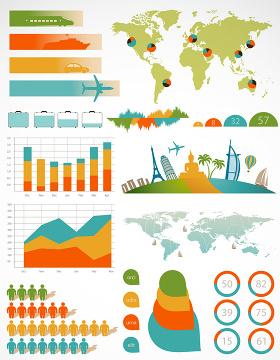 航空数据PPT矢量图形图标-含多个ppt元素