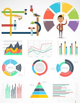 彩色信息表PPT矢量图形图标-含多个ppt元素