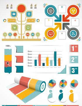 彩色信息PPT图素材矢量图形-含多个ppt元素