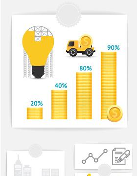 矢量ppt灯泡商务金融信息图表素材