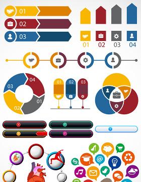 信息图数据图PPT矢量图形图标-含多个ppt元素