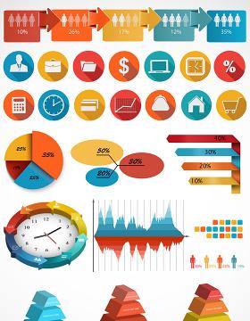 商务信息图PPT素材矢量图形-含多个ppt元素