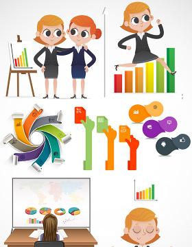 职场人物数据PPT矢量图形图标-含多个ppt元素