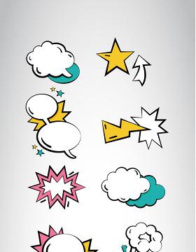 文本框元素背景素材卡通对话框气泡合集-含多个ppt元素