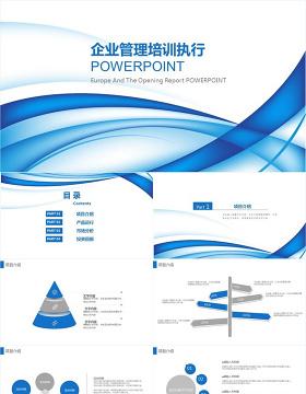 蓝色线条企业管理培训执行PPT模板