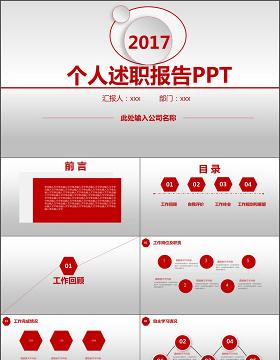 2017年红色动态大气个人述职报告PPT模板
