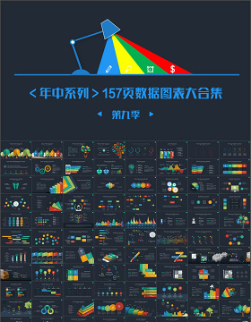 高端扁平化关系列表数据图表合集ppt模版-含多个ppt元素