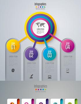 炫彩商务标签信息图表设计素材