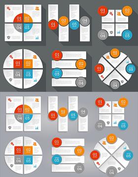 信息图表设计矢量素材-含多个ppt元素