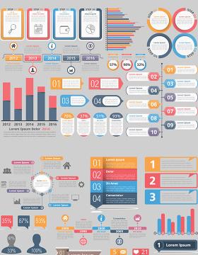 创意信息图表设计-含多个ppt元素
