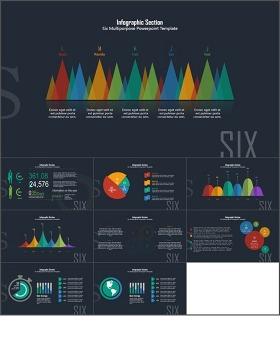 彩色扁平化数据图表PPT模板