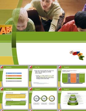 绿色背景儿童教育—儿童ppt模板