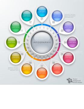 多个元素时尚信息科技图表设计矢量素材-含多个ppt元素