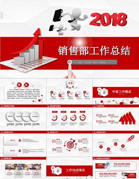 销售部工作汇报工作总结年终总结述职报告新年工作计划PPT模板