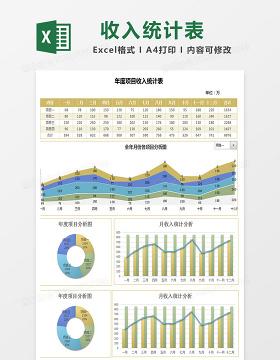 商务风年度项目收入统计表 excel模板