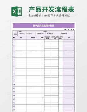 新产品开发流程计划表excel表格模板