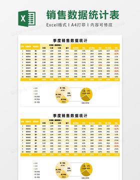 季度销售数据统计excel表格模板
