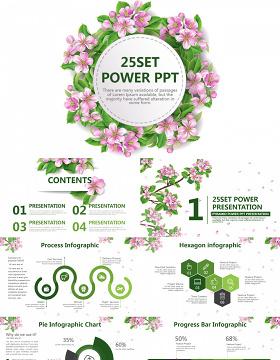 文艺小清新花朵通用旅游PPT模板
