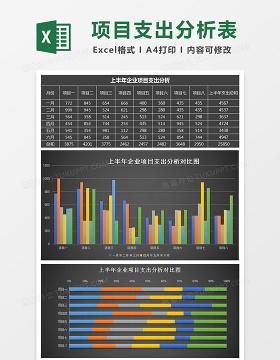 黑上半年企业项目支出分析表Excel模板