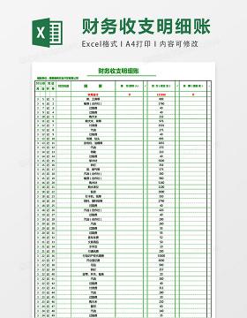 财务收支明细表简单版excel表格模板
