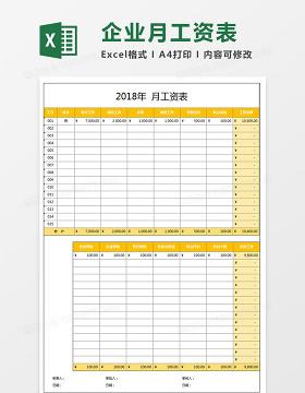 企业员工工资核算表Excel模板