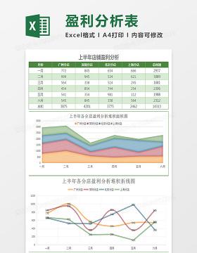 上半年店铺盈利分析报表Excel模板
