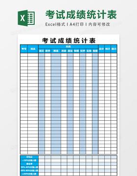 考试成绩统计表模板excel表格模板