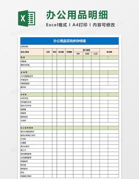 办公用品统计表九联excel模板