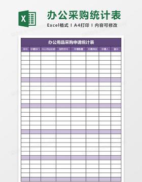 办公用品采购申请统计表