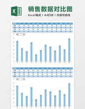 蓝色全年团队销售数据对比图Excel模板