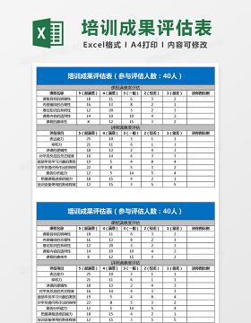 培训成果评估表Excel表格