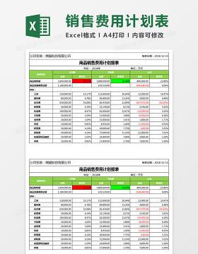 商品销售费用计划报表Excel模板