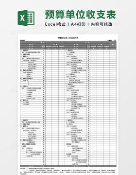预算单位收入支出情况表Excel模板