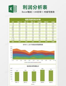全年月份季度统计分析报告ecxel模板
