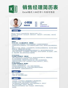 蓝色时尚销售经理Excel简历表格模板