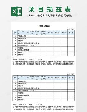 项目损益表格Excel模板