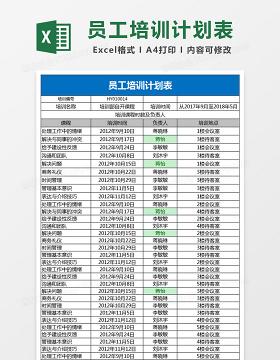 员工培训计划表Excel表格