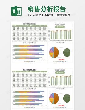 微商代理销售年中分析报告Excel模板简