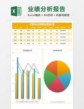 彩色时尚年度销售业绩统计表Excel模板