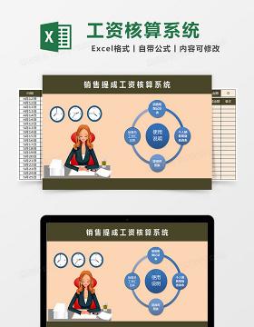 销售提成工资核算系统excel表格模板