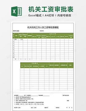 机关单位机关机构工作人员工资审批表模板