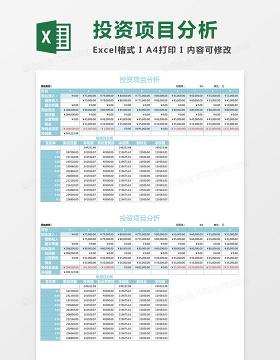 投资项目分析Execl表格