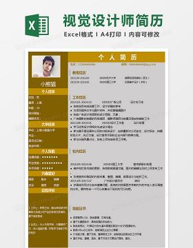 互联网视觉设计师Excel简历表格模版