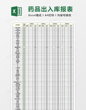 药品出入库报表十联表Excel表格